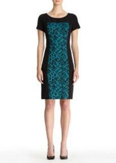 Sheath Dress with Textured Panel
