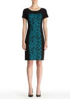 Sheath Dress with Textured Panel