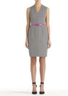 Sheath Dress with V-Neck and Shoulder Pleats