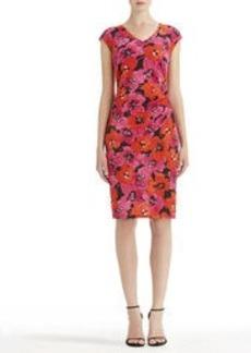 Shirred V-Neck Dress