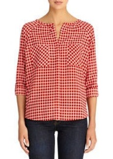Shirt with Raglan Shoulders and Roll Tab Sleeves (Petite)