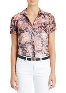 Short Raglan Sleeve Shirt with Tab Detail (Plus)
