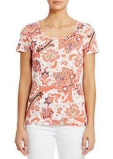 Short-Sleeve Cotton Tee Shirt with Deep Scoop Neck (Plus)