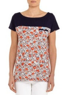 Short-Sleeve Floral Boat Neck Tee Shirt with Solid Top (Plus)