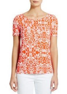 Short-Sleeve Printed Scoop Neck Tee Shirt (Plus)