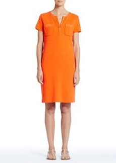 Short-Sleeve Shift Dress with Crew Neck