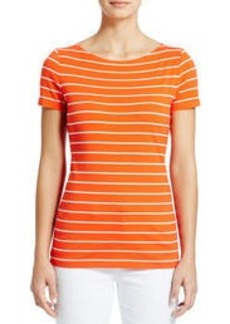 Short-Sleeve Striped Boat Neck Tee Shirt (Plus)