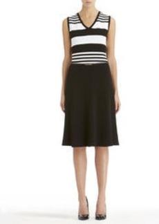 Sleeveless Black and White V-Neck Dress