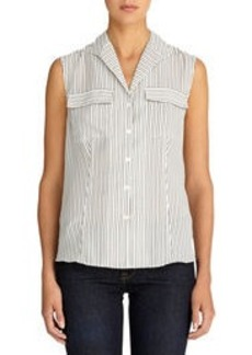 Sleeveless Blouse with Pop-Up Collar (Petite)