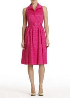 Sleeveless Cotton Cutaway Shirt Dress