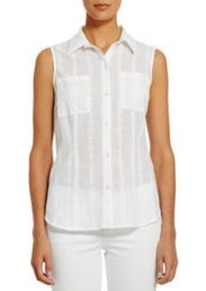 Sleeveless Cotton Fitted Shirt