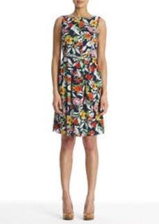Sleeveless Floral Dress with Belt
