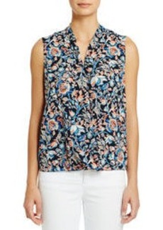 Sleeveless Floral Print Georgette Blouse