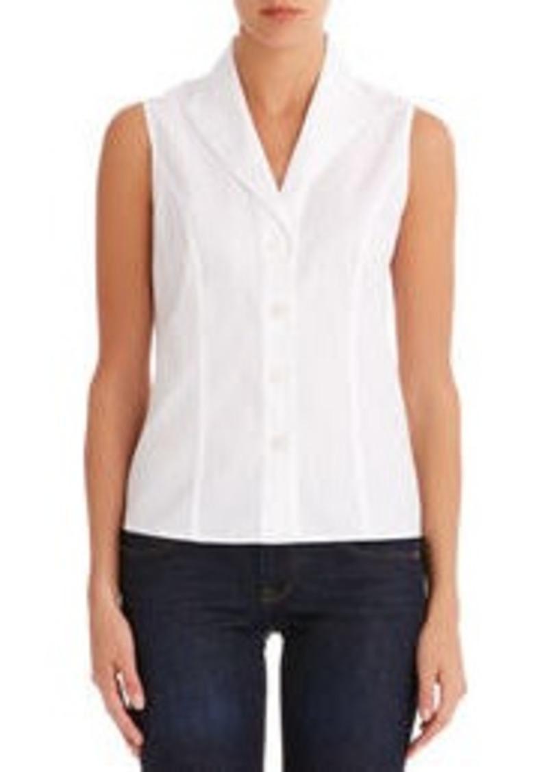 Jones New York Sleeveless No Iron Easy Care Fitted Shirt