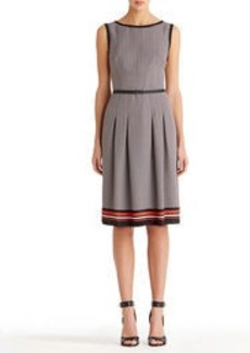Sleeveless Pleated Boat Neck Dress (Petite)