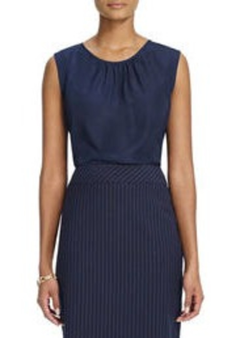 Sleeveless Scoop-Neck Blouse with Front Pleats (Petite)