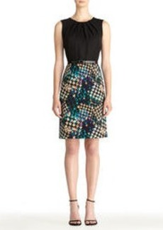 Sleeveless Sheath Dress with Houndstooth Skirt
