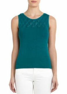 Sleeveless Shell with Plaited Top