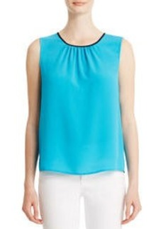 Sleeveless Shell with Pleated Neckline (Plus)