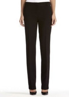 Slim Black Pants with Ribbon Trim
