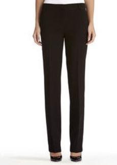 Slim Black Pants with Ribbon Trim
