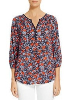 Smocked Floral Peasant Blouse