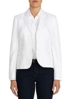 Stretch Cotton Blazer with Grosgrain Trim