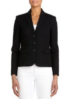 Stretch Cotton Blazer with Grosgrain Trim (Plus)