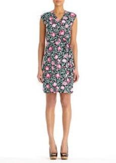 Stretch Cotton Faux Wrap Dress with Belt (Plus)