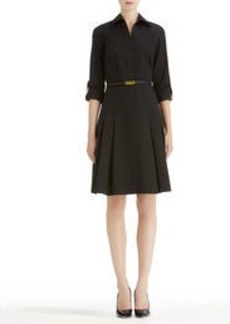 Stretch Cotton Fit and Flare Shirt Dress