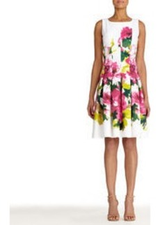Stretch Cotton Floral Fit and Flare Dress (Plus)