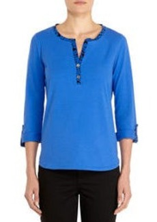 Stretch Cotton Henley with 3/4 Roll Tab Sleeves