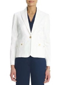 Stretch Cotton One Button Blazer