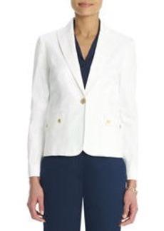 Stretch Cotton One Button Blazer