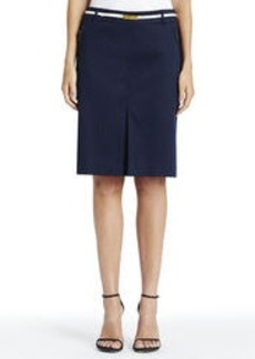 Stretch Cotton Sateen Pencil Skirt with Zip Front