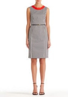 Stretch Cotton Sheath Dress with Belt