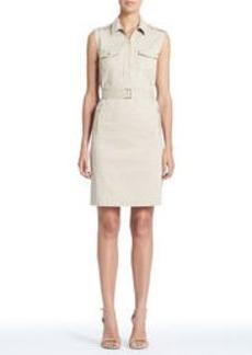 Stretch Cotton Sleeveless Safari Dress