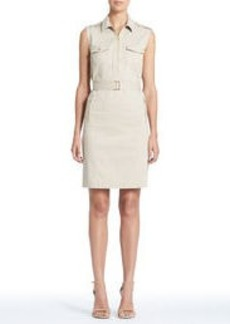 Stretch Cotton Sleeveless Safari Dress (Plus)