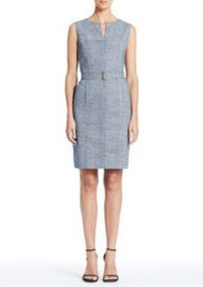 Stretch Cotton Sleeveless Sheath Dress with Split Neckline