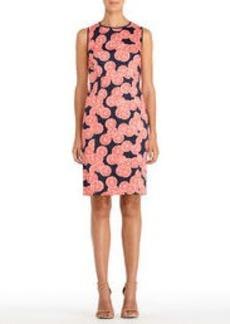 Stretch Cotton Sleeveless Shift Dress with Round Neck