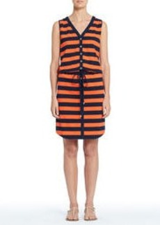 Stretch Cotton Sleeveless V-Neck Shirred Dress