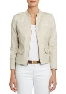 Stretch Cotton Stand Collar Jacket with Peplum Back