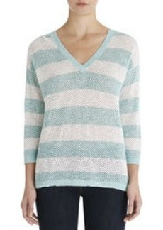 Stripe Mesh V-Neck Cotton Pullover