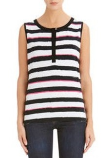 Stripe Sleeveless Crew Neck Tank Top (Plus)