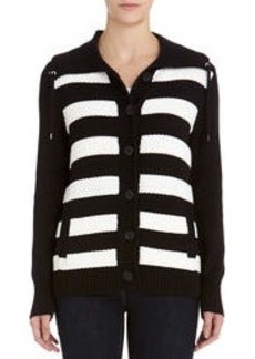 Striped Cotton Cardigan with Fold Over Collar