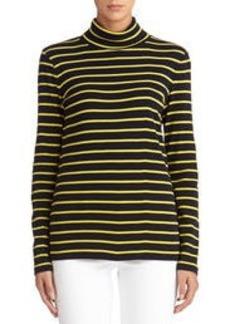 Striped Cotton Long Sleeve Turtleneck (Petite)