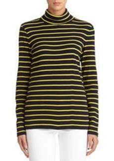 Striped Cotton Long Sleeve Turtleneck (Petite)