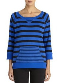 Striped Cotton Pullover with 3/4 Raglan Sleeves (Petite)