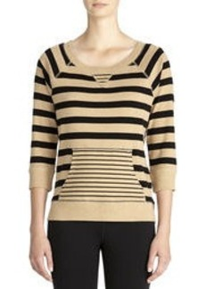 Striped Cotton Pullover with 3/4 Raglan Sleeves (Plus)