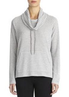 Striped Cowl Neck Pullover (Plus)